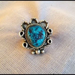 Vintage Turquoise & Silver Native American Ring